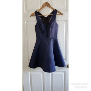 NWT Express Blue Fit and Flare Dress sz 2
